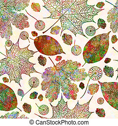 10, eps, 패턴, seamless, 가을, 벡터, leaves.