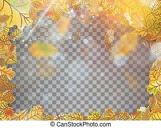 10, frame., 잎, eps, 가을, 벡터, 눈이 듯한