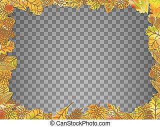 10, isolated., 잎, eps, 가을, 벡터, 구조
