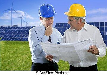 2, 건축가 계획, 태양의, 판, hardhat, 엔지니어