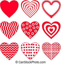 2, 세트, 심장, 발렌타인