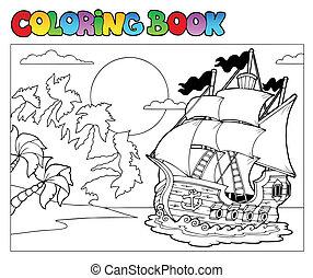 2, 채색, 장면, 책, 해적