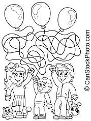 8, 채색, 아이들, 책, 미로