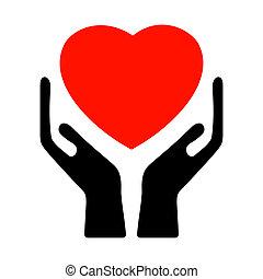 8, heart., eps, 손을 잡는 것