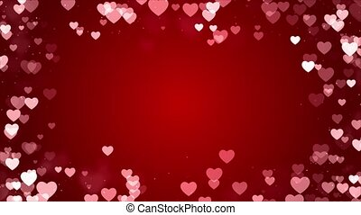 animation., 빨강 배경, 형체, 떼어내다, 고리, 심장, 번쩍이는, 밝은