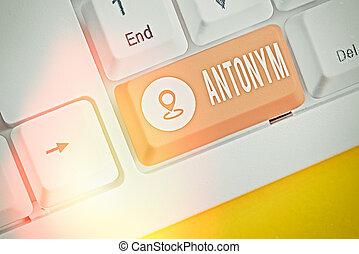 antonym., 누구의, 원본, 또 하나의, 낱말, 반대 위치에, 개념, word., 또는, 구, 의미, 필적