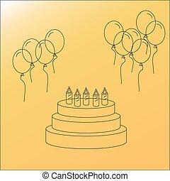 balloons., 케이크, 생일 축하합니다, 벡터, icons:, 선