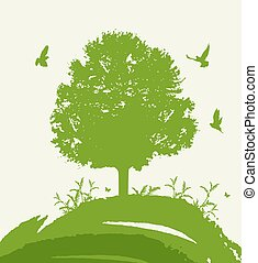 birds., 녹색 나무