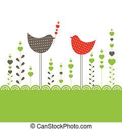 birds., 벡터, 배경, 삽화