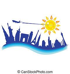 buliding, 비행기, 삽화, 여행