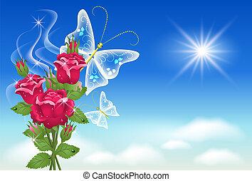 butterfly., 하늘, 장미