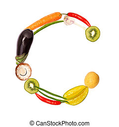 c, 여러 가지이다, 야채, 편지, 과일
