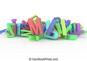 cgi, 벽지, 선, 알파벳, &, 혼란, abc., 개념, 활판 인쇄술, 디자인, 배경., 편지, 삽화, 장식적이다, graphic., 직물