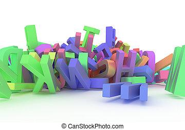 cgi, 선, 알파벳, &, abc., 혼란, 모양, 배경., 활판 인쇄술, 디자인, 편지, 삽화, 장식적이다, 직물, 상징., 다발