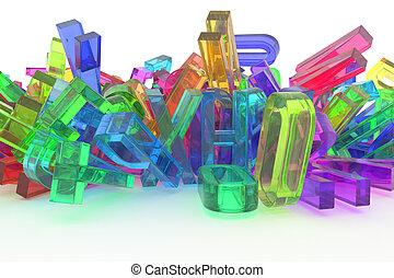 cgi, &, 혼란, 알파벳, 다채로운, abc, 활판 인쇄술, modeling., 배경., 편지, 더미, 디자인, 직물