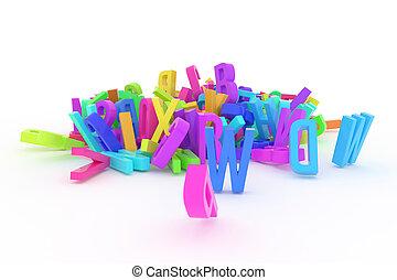 cgi, &, abc, 알파벳, graphic., 혼란, 유치원, 배경., 활판 인쇄술, 디자인, 편지, 3차원, 직물