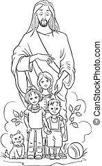 children., 예수, 페이지, 착색제