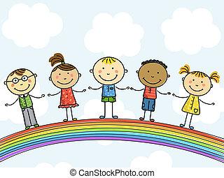 children., illustration., 벡터