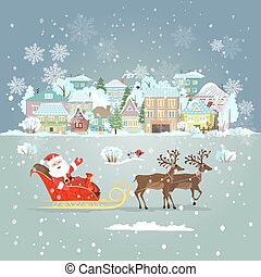 claus, 디자인, santa, 초대, sleigh, 너의, 카드