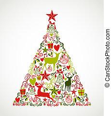 composition., 층, 성분, eps10, 쉬운, 다채로운, 나무, 편성되는, 모양, 명랑한, editing., 벡터, reindeers, 파일, 휴일, 크리스마스