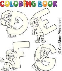 defg, 채색, 편지, 책, 아이들