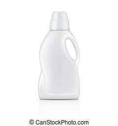 detergent., 백색, 세탁물, 병, 액체
