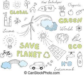 doodles, 세트, 벡터, 생태학, 성분