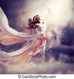 dress., 소녀, 입는 것, 시퐁, 공상, 장면, 길게, 아름다운