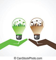 eco, 개념, 오염시키는, 도시