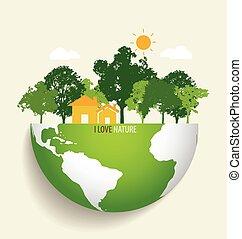 eco, 녹색, 벡터, earth., illustration.