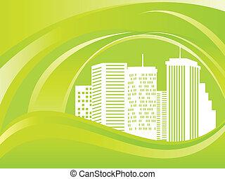 eco, 도시, 녹색