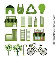 eco, 도시, 세트, 녹색, 아이콘