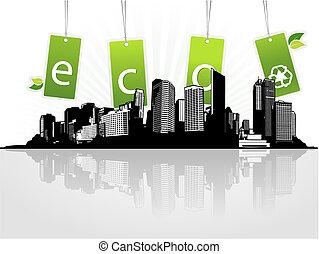 eco, 도시, tags., 벡터, 예술