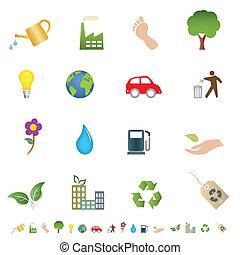 eco, 상징, 녹색, 환경