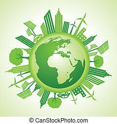 eco, 지구, 가다, 녹색, 개념