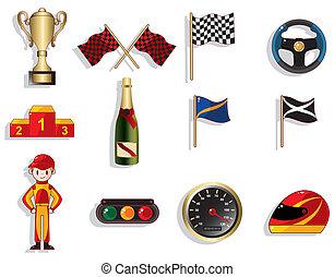 f1, 세트, 자동차 경주, 만화, 아이콘