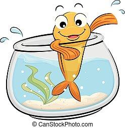 fish, 마스코트, 사발, 삽화, 파도