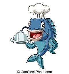 fish, 요리사, 만화, 쟁반, 보유