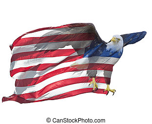flag., 두 배, 미국 영어, 노출, 독수리, 드러내다
