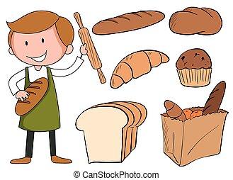 flashcard, 빵 굽는 사람, bread