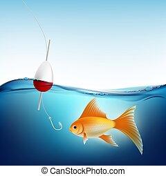 float., 물, 갈고리, 벡터, 어업, 금붕어, 주식