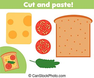 game., 만들다, 잘렸던 종이, 교육적인, 아교, sanwich, 가위, 아이들, 창조, activity.
