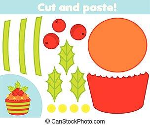 game., 만들다, 컵케이크, 종이, 공급 절감, 새로운, 교육적인, 크리스마스, 아교, 가위, 아이들, 창조, 년, activity.
