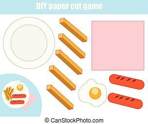 game., 접시, 만들다, 절단, 잘렸던 종이, 음식, 풀, worksheet., 교육적인, diy, glue., 아이들, activity.