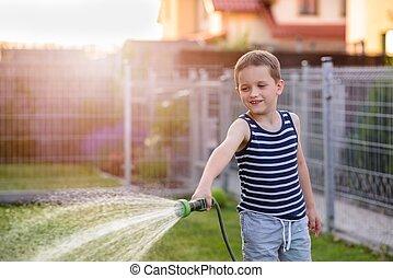 garden., 소년, 거의, 해수욕장의, 아이, 풀