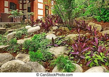 garden., 집, 돌, 테라스, 가구, landscaping., 제자리표, 뒤뜰, 장식적이다