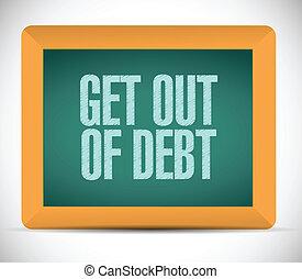 get, 삽화, 디자인, 메시지, 빚, 나가