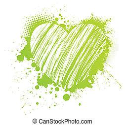 grunge, 녹색, 심장