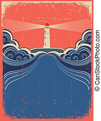 grunge, 등대, 푸른 배경, 벡터, 디자인, waves.