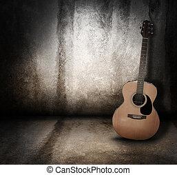 grunge, 청각의, 배경, 음악, 기타